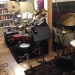 Tama Bubinga Omnitune kit, Sabian cymbals, Tama drum rug in Joe's studio