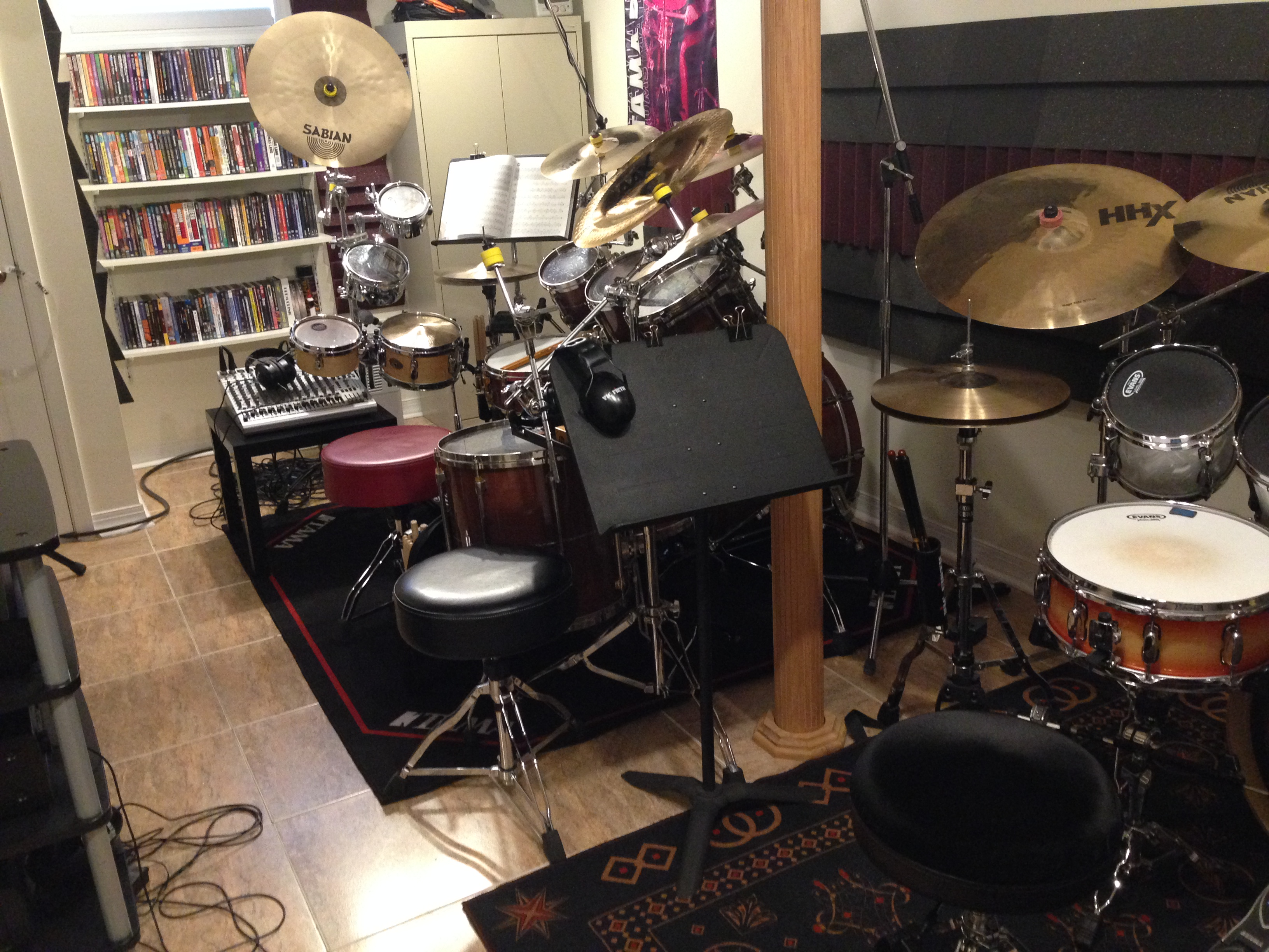 Gear Joe Bergamini Piece Drum Set Diagram My Tama Before I Bubinga Omnitune Kit Sabian Cymbals Rug In Joes Studio